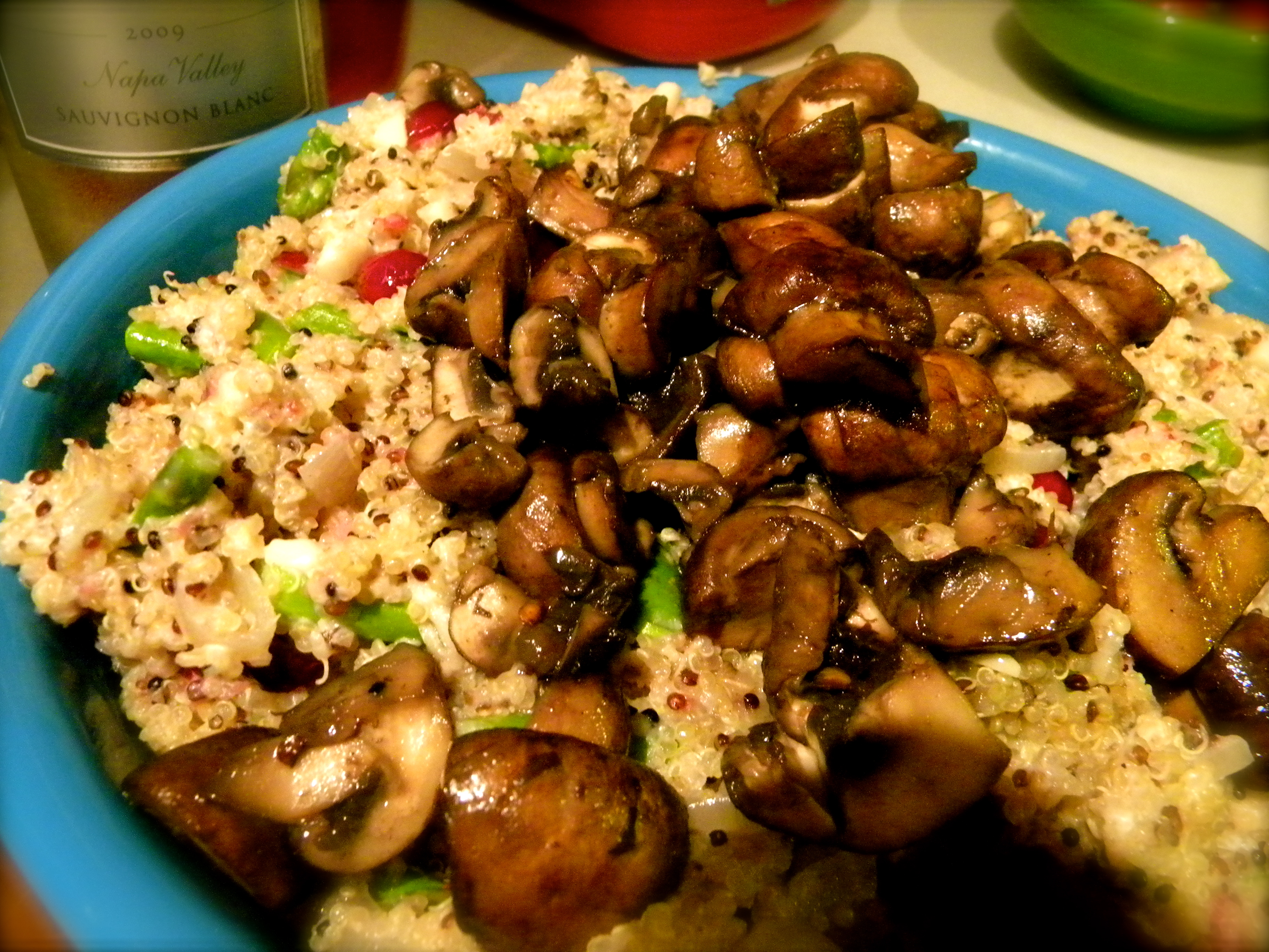 Mushroom And Asparagus Warm Quinoa Recipe — Dishmaps